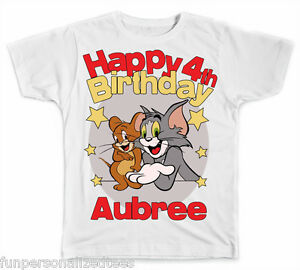 Tom and Jerry Custom Personalized Birthday Shirt #2 Add Name /& Age
