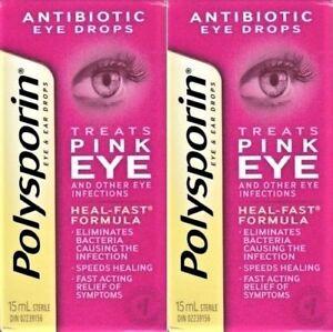 New Polysporin Antibiotic Eye Drops Treats Pink Eye 2x15 30 Ml Heal