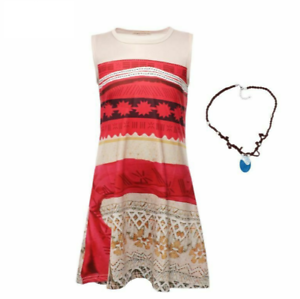Girl Summer Dress Moana with Necklace Princess Beach Party Cosplay Costume Set