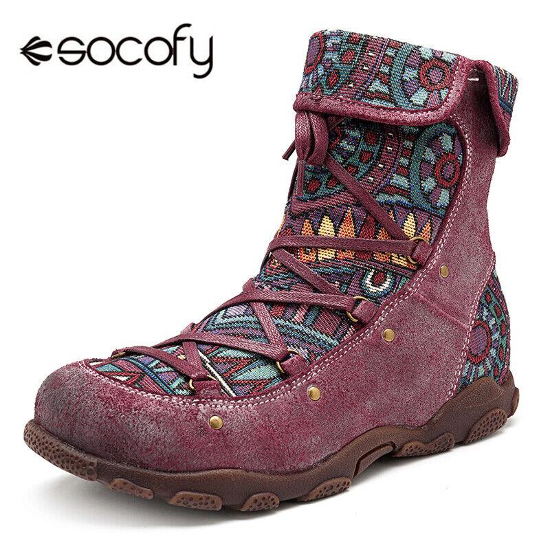 SOCOFY kvinnor Genuine läder stövlar stövlar stövlar Casual Comfy Splyng Jacqueard Lace Up  vara i stor efterfrågan