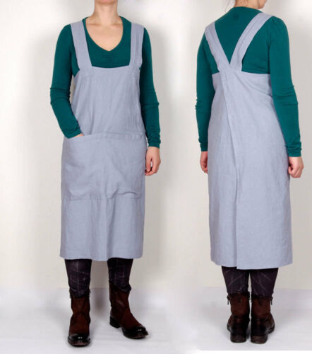Linen Cross Back Apron Japanese Apron X Back Pinafore 100/% linen