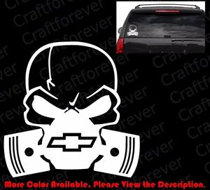 Die Cut Skull Mask Chevy Chevrolet Window Vinyl Sticker Decals