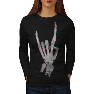 Accurato Wellcoda Struttura Metallica Rock Da Donna Manica Lunga T-shirt, Bone Design Casual-mostra Il Titolo Originale