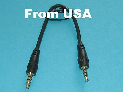 5PK 0.5ft Right Angle Short 3.5mm Male to 3.5mm Male Stereo Audio Cable 4pole US