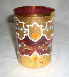 ANTIQUE-CZECH-MOSER-GILT-HAND-PAINTED-RED-RUBY-CRANBERRY-GLASS-WATER-TUMBLER