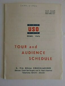 Vintage 1960's USO Rome Italy Travel Brochure Tour and Audience Schedule