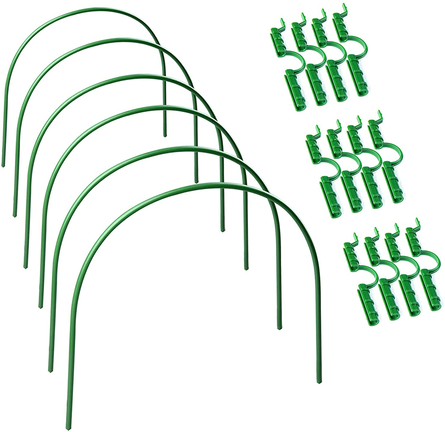 æ— 6-Pack Greenhouse Hoops with 12 Pack Greenhouse Clamps for Netting,Plastic
