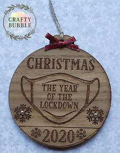 Handmade-christmas-2020-year-of-the-lockdown-bauble-WOODEN-mask-engraved