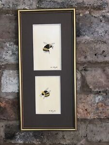 Two Bumble Bees, Framed Original Watercolour Painting, Signed, Vintage, Cottage
