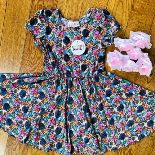 NWT Dot Dot Smile Twirly Summer dress Girls Cup Short sleeve Colorful