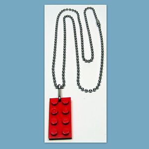 5-250-Lot-Necklace-Nickel-Plated-Ball-Chain-w-LEGO-2X4-Red-Plate-Party-Favor