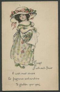 Sanford-MARGARET-EVANS-PRICE-MEP-Postcard-No-1316-Little-Girl-in-Hat-w-Flowers