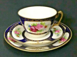 C-1908-17-NORITAKE-HAND-PAINTED-ROSES-TRIO-BLUE-MARUKI-MARK-SUPERB-TOP-QUALITY