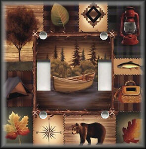 Metal-Light-Switch-Plate-Cover-Rustic-Bear-Nature-Lodge-Cabin-Home-Decor-01