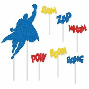 SUPERHERO-amp-WORDS-GLITTERED-CAKE-TOPPER-PARTY-DECORATION