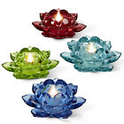 Flower Bloom Set of 4 Colorful Tealite Candle Holders - Free Soy Tealights - AB
