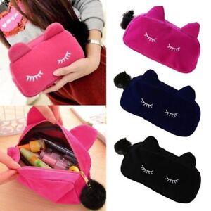 HOT-Cute-Cartoon-Cat-Makeup-Bag-Cosmetic-Purse-Storage-Pencil-Case-Pen-Ladies-UK