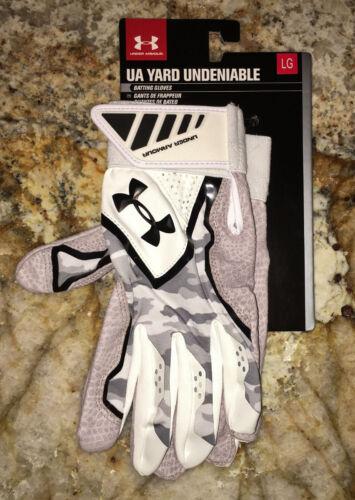 UNDER ARMOUR Yard Undeniable White Grey Yello Baseball Batting Gloves NEW Mens M