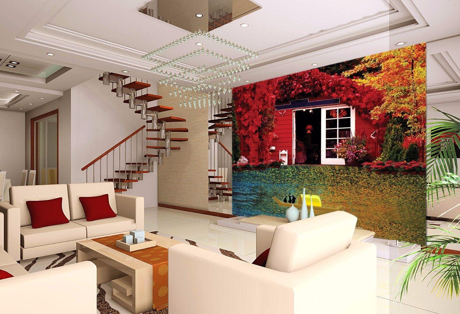 3D Rot Verlässt Haus 85 Tapete Wandgemälde Tapete Tapeten Bild Familie DE Summer