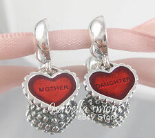 PIECE OF MY HEART Genuine PANDORA Silver/RED HEART Mother DAUGHTER Dangle CHARM