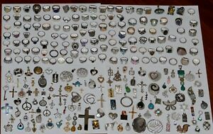 Vintage-Sterling-Silver-925-Stamped-Mixed-Jewelry-Lot-599-Pieces-3857-Grams