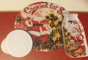 Details About Fitz And Floyd Old World Christmas Milk And Cookies For Santa With Cookie Press