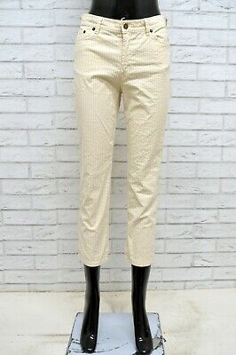 Pantalone Henry Cottons Donna Taglia Size 38 Jeans Pants Corto Cotone Righe Slim Il Consumo Regolare Di Tè Migliora La Salute