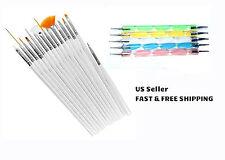 15pcs Nail Brushes & 5pcs 2-Way Nail Dotting Pens Marble Nail Art Tool Kit Deco