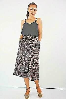 New Womens Black /& Red Floral Patchwork Print Crop Wide Leg Trousers Size 8-10