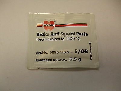 WURTH MOTORCYCLE BRAKE PASTE 5.5g SACHET anti squeal seize lubricant