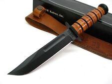 KA-BAR Leather Handle Full Size Straight Edge US NAVY Fixed Knife + Sheath! 1225