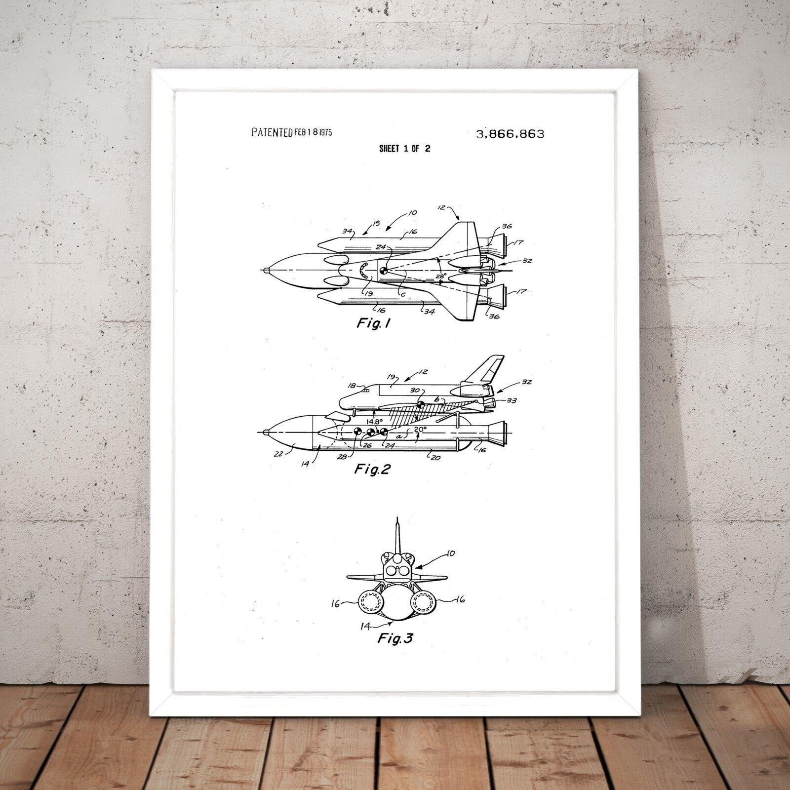 Space Shuttle Patent Gift Present Decor Art Poster Print - A3 A2 A1 A0 Framed