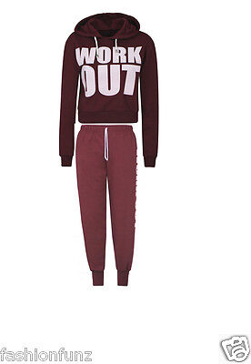 New Ladies Work Out Sweat Hooded Crop Tops Womens Jogging Bottoms Tracksuit Set