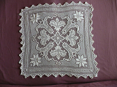 #1727 Beautiful Vintage Hand Made Tablecloth 91cm/85cm(36''x33.5'')