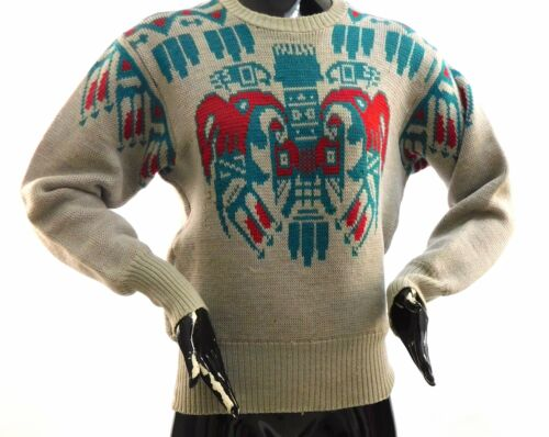 Vintage 1940s Rare Totem pole novelty knit sweater