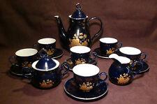 Hass & Czjzek Cobalt Blue Golden Rose China Tea Set, New