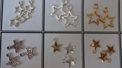 Varios Estilos encantadora brigjt plata tibetana estrella Encantos Colgantes 4 Navidad Deco