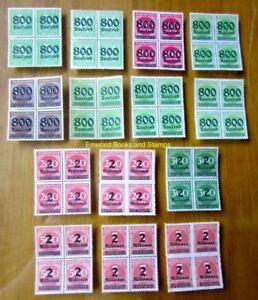 EBS-Germany-1923-Inflation-Overprints-set-III-Michel-301-312-BLOCKS-FOUR-MNH
