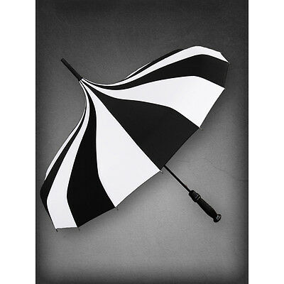 Restyle Gothic Witch Occult Black White Striped Victorian Pointed Hook Umbrella
