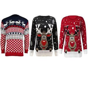 Unisex-Men-Women-039-s-Ladies-Vintage-Rainder-Rudolph-Christmas-Knit-Jumper-Sweater