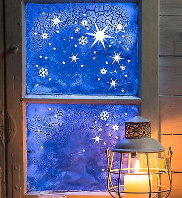 Fensterbild WINTER STERN Fensterdekoration Fensterbilder DREI STERNE beweglich