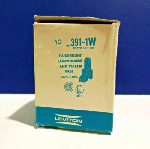 Leviton White Single Fluorescent Lamp Holders and Starter Base 391-1W NEW WOW!