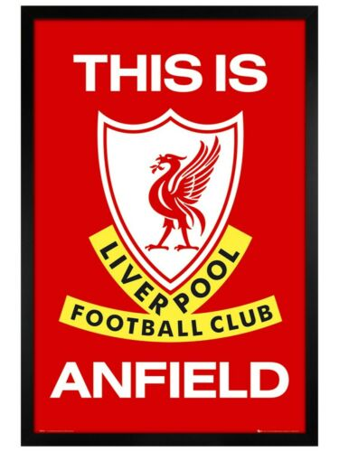 Black Wooden Framed 61x91.5cm Liverpool FC Poster This is Anfield Club badge