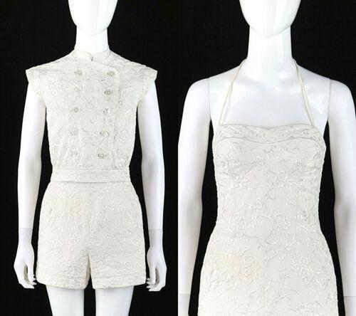 CAROLYN SCHNURER c.1950's White Jacquard Halter Ro
