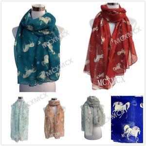 One Women Ladies Long Fashion unicorn horse metalic foil   print  Shawl Scarf