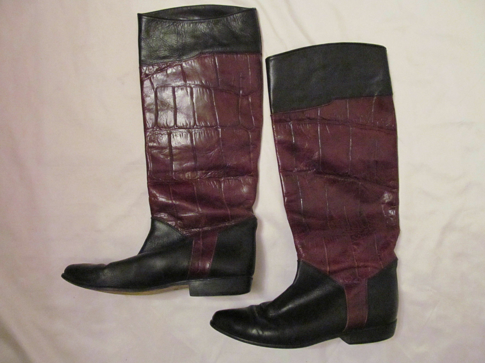 vintage SESTO MEUCCI FLORENCE schwarz and Braun croc embossed tall riding boots