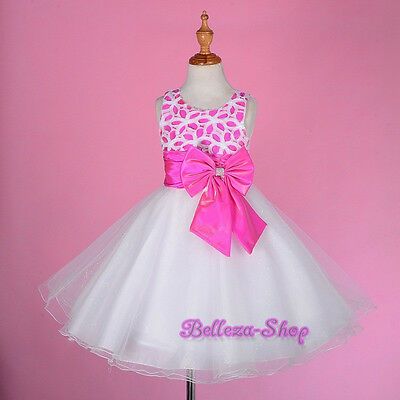 White Sequined Scoop Dress Wedding Flower Girl Dresses Pageant Size 2T-9 FG246