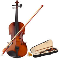 New School 4/4 Full Size Acoustic Violin with Case and Bow Rosin Wood Color