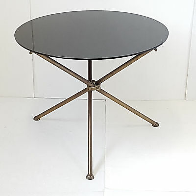 Coffee Table Side Table Pedestal Table Round 1950 Vintage Years 50 Glass Brass Ebay