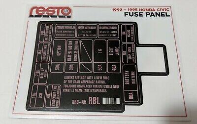 1992 -1995 HONDA CIVIC FUSE BOX DECAL REPLACEMENT EG EH | eBayeBay